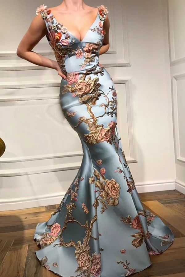 Photo of Sexy Deep V Collar Embroidery Floral Printed Fishtail Maxi Dress