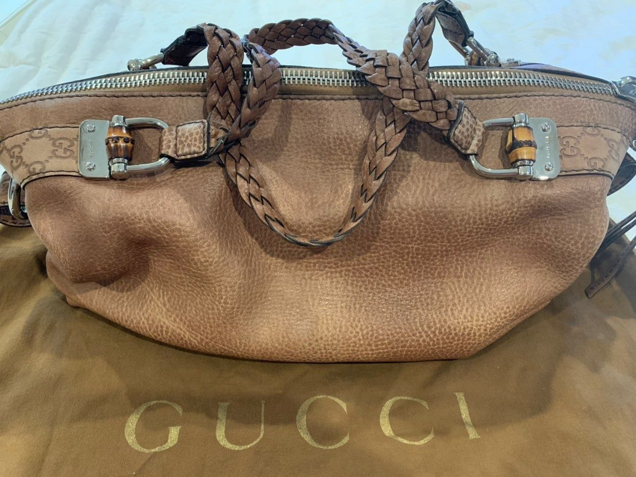 GUCCI brown leather with silver tone hardware.  Guccissima leather trim, Bamboo …