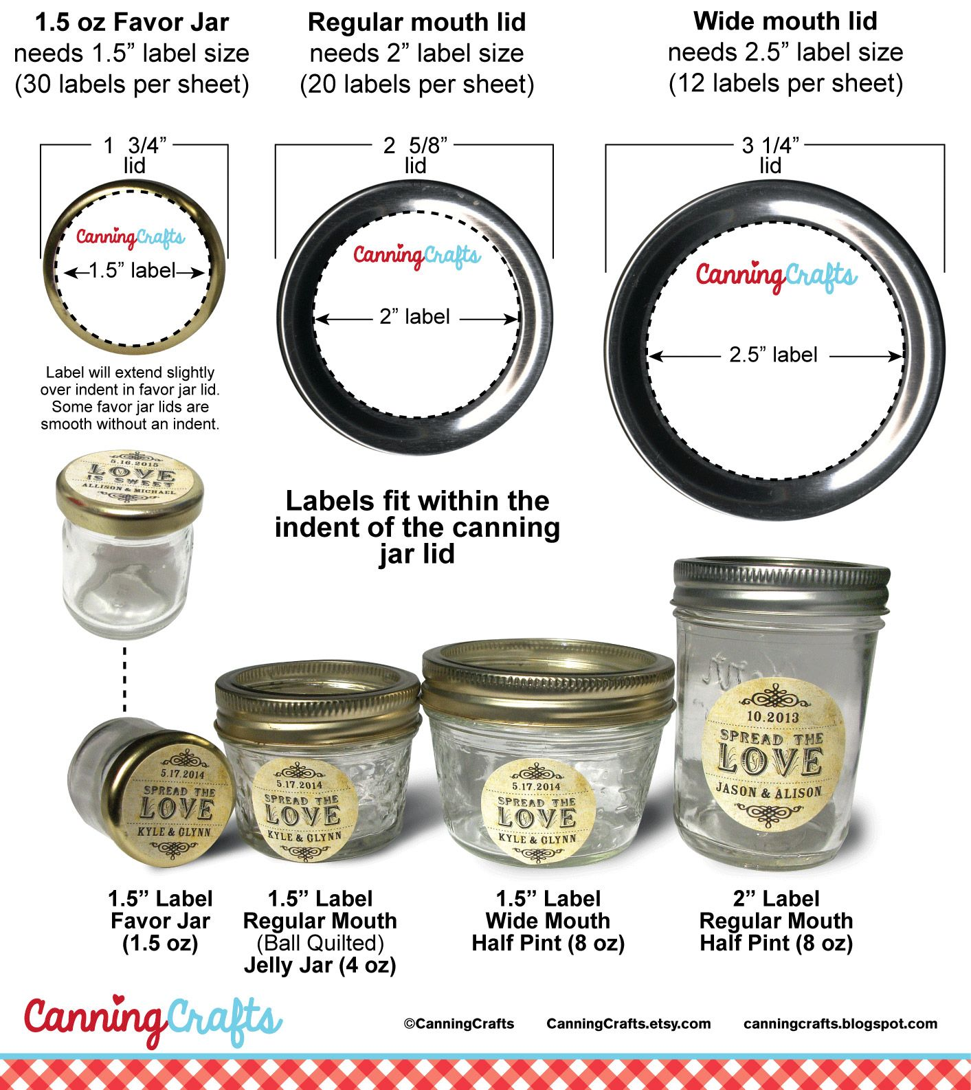 Canning jar label sizes i often get asked what label size will fit a certain ounce canning jar mason canning jars can have either regular