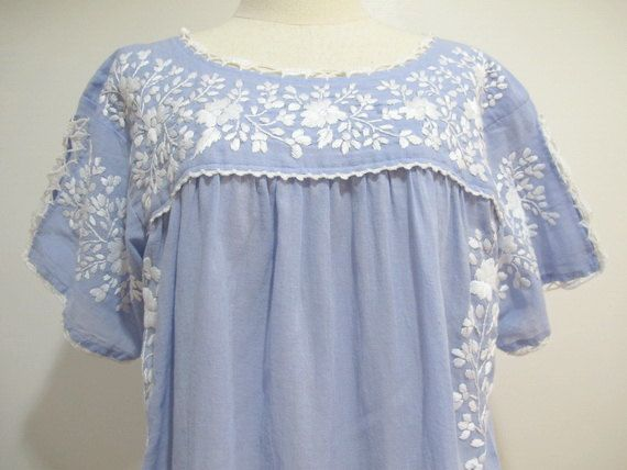 Mexican Embroidered Dress Cotton Tunic In Blue Boho by chokethai