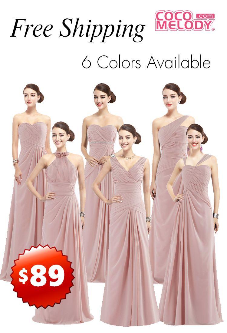 Hot sale chiffon #bridesmaid dresses, 6 styles 6 colors, free ...