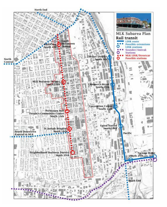 Tacoma Link Expansion Alternatives Map Tacoma Link Light Rail
