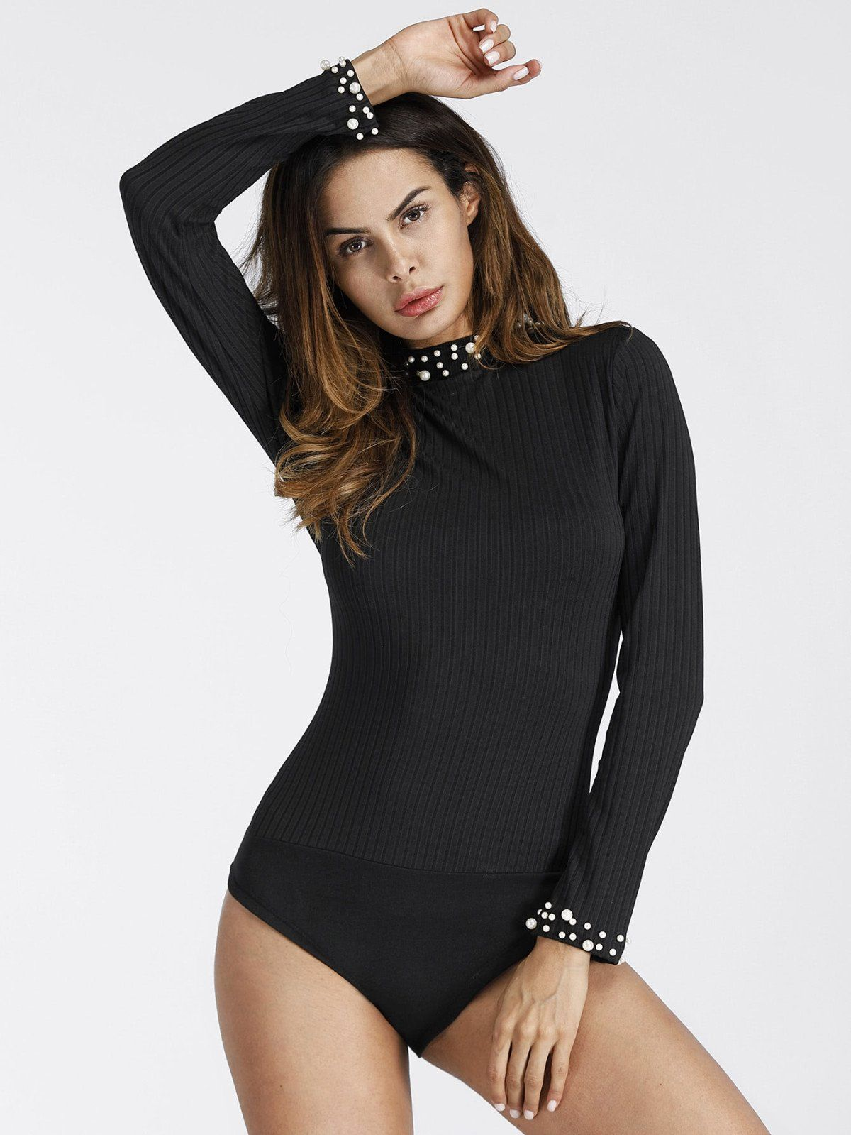 d3b573594d Bodysuits by BORNTOWEAR. Pearl Beaded Ribbed Bodysuit