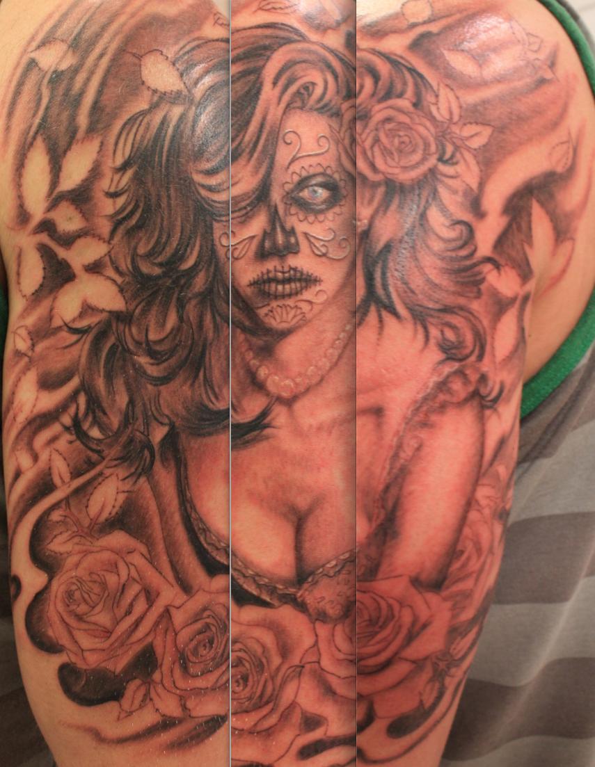 Tattoo ideas back piece day of the dead tattoo half sleeve by cye  tattoo  pinterest