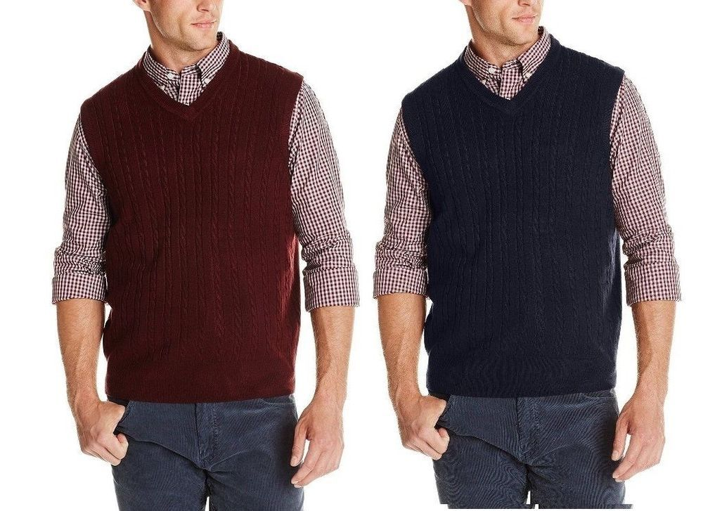 Dockers Mens Vest Cable Knit Sweater Super Soft Acrylic Solid Size L