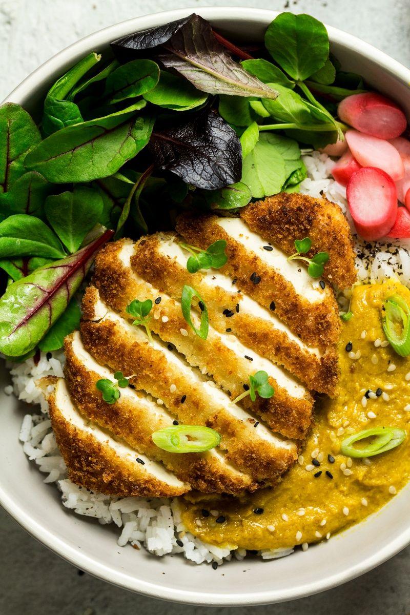 Vegan Katsu Tofu Close Vegan Katsu Curry Vegan Dishes Vegan Recipes