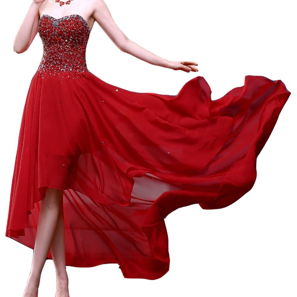 Kivary womenus beaded high low chiffon formal prom dresses evening