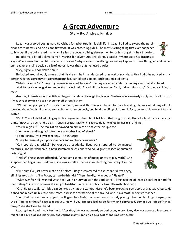 Great Adventure Reading Comprehension Worksheet Reading