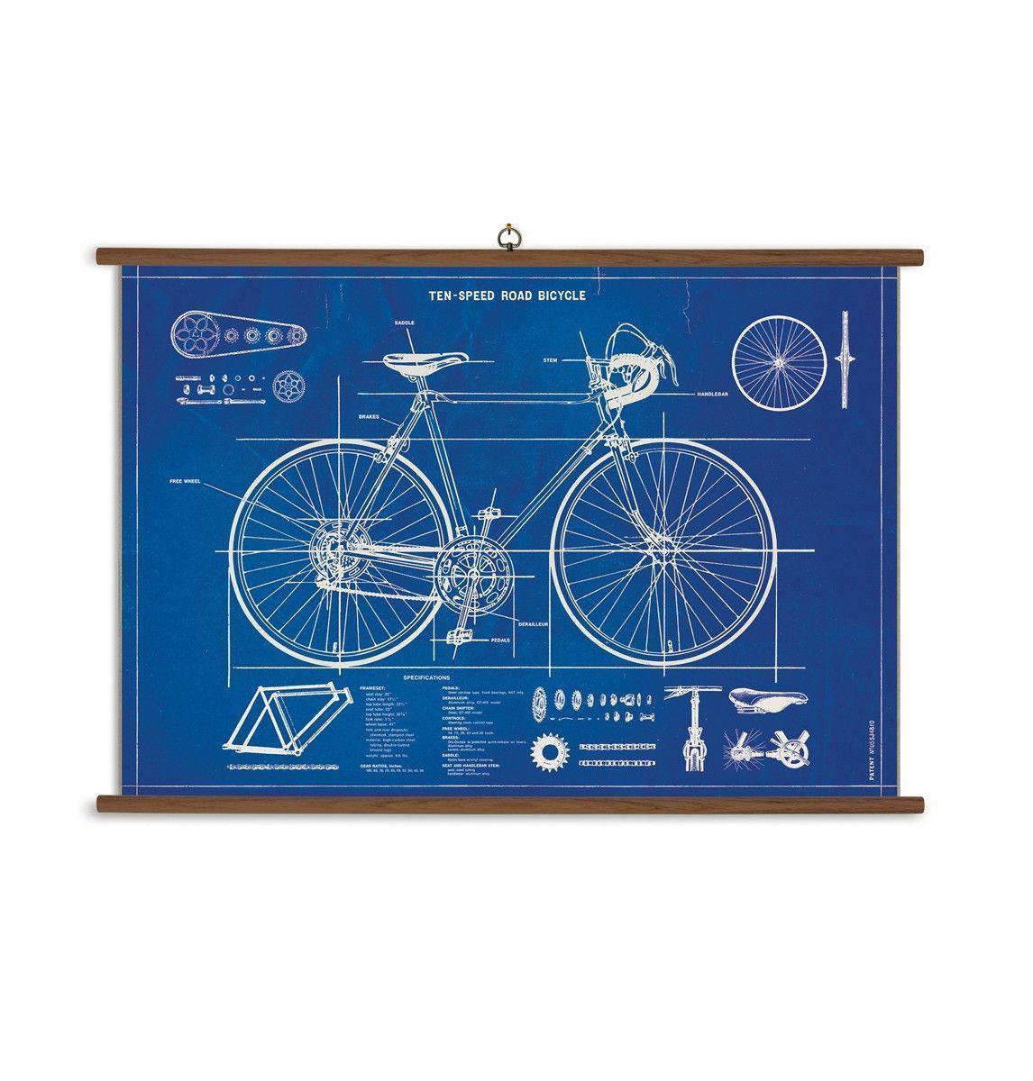 Bicycle blueprint vintage school chart vintage school bicycling bicycle blueprint vintage school chart malvernweather Images