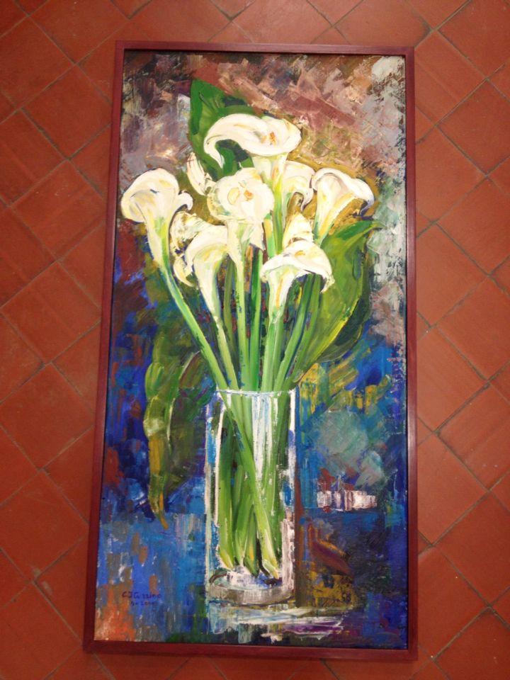 Marco artesano de Taller Estuco. Pintado con acrílicos y pigmentos terminado con pátina de cera de color.