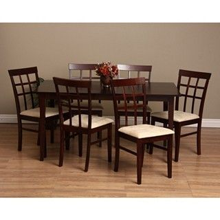 Warehouse Of Tiffany Justin 7 Piece Dining Furniture Set , Cappuccino, Size  3 Piece Sets