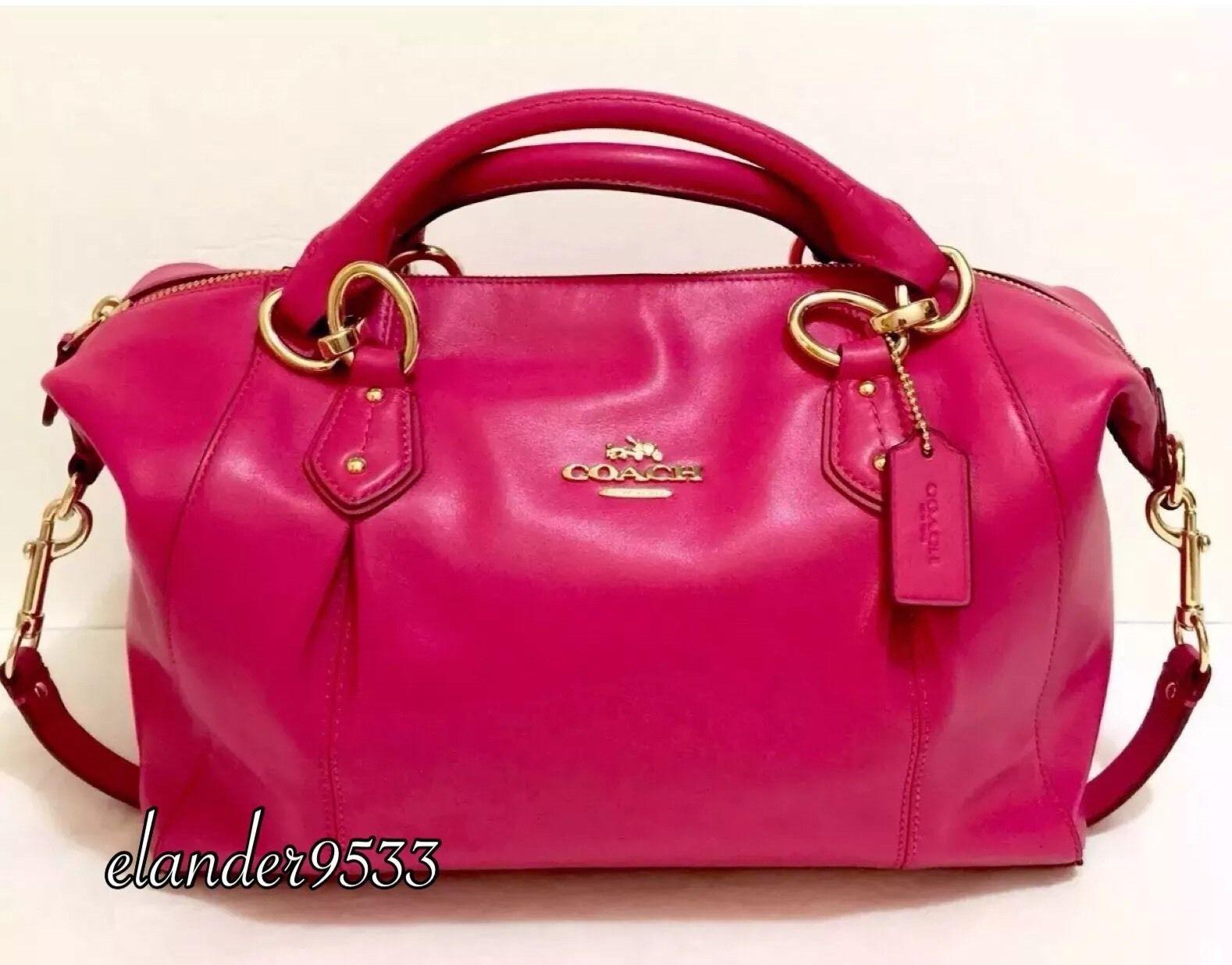 a790cd384c New COACH F33806 Colette Leather Satchel Shoulder Bag Purse Handbag Pink  Ruby  169.95