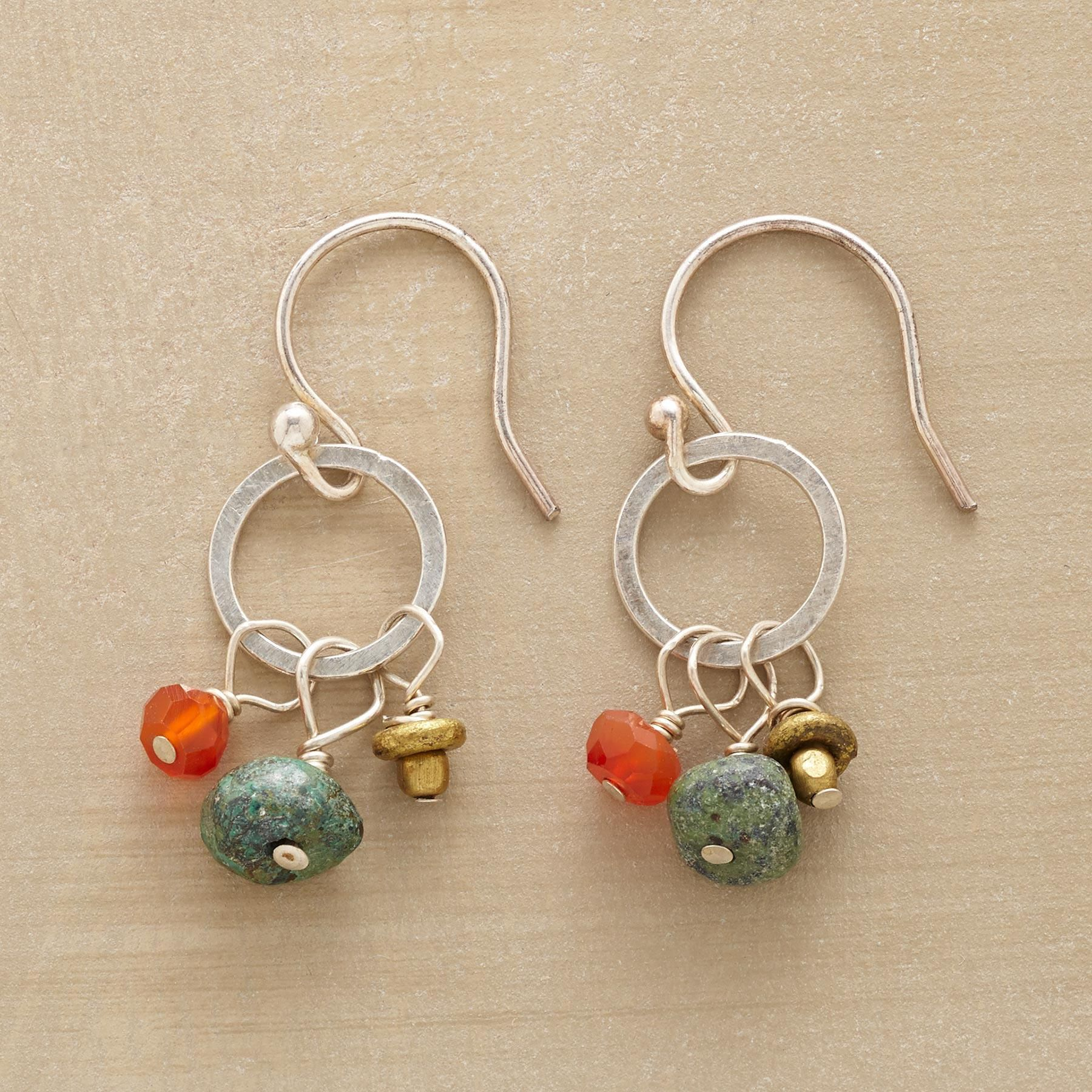 7bf070dd7 PRETTY PARLEY EARRINGS -- Sterling silver circles host a gathering of small  beauties—turquoise, brass, and carnelian. French wires. Handmade in USA.
