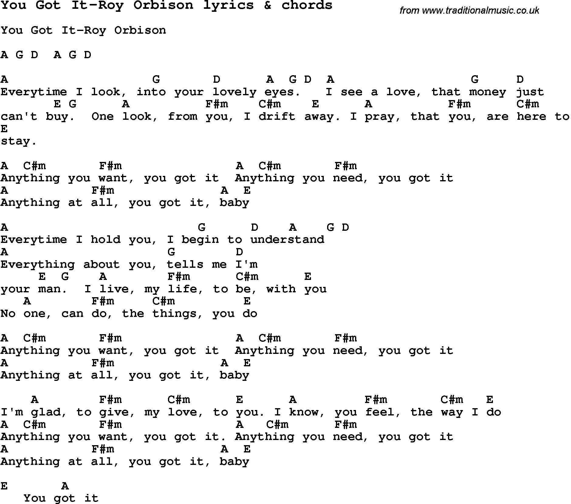 Love Song Lyrics For You Got It Roy Orbison With Chords For Ukulele