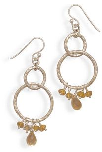 Sterling Silver Hammered Circle and Citrine Earrings