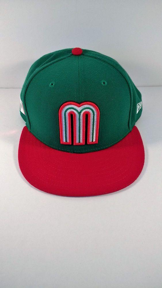 35646b1fb6b Mexico World Baseball Classic Cap Hat Green Red Bill Logo 7 3 4  NewEra   Mexico