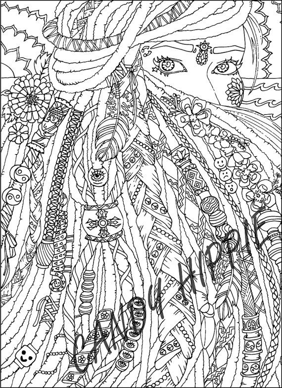 Coloring Page for Adults - Dreadlocks - Printable art to print and ...