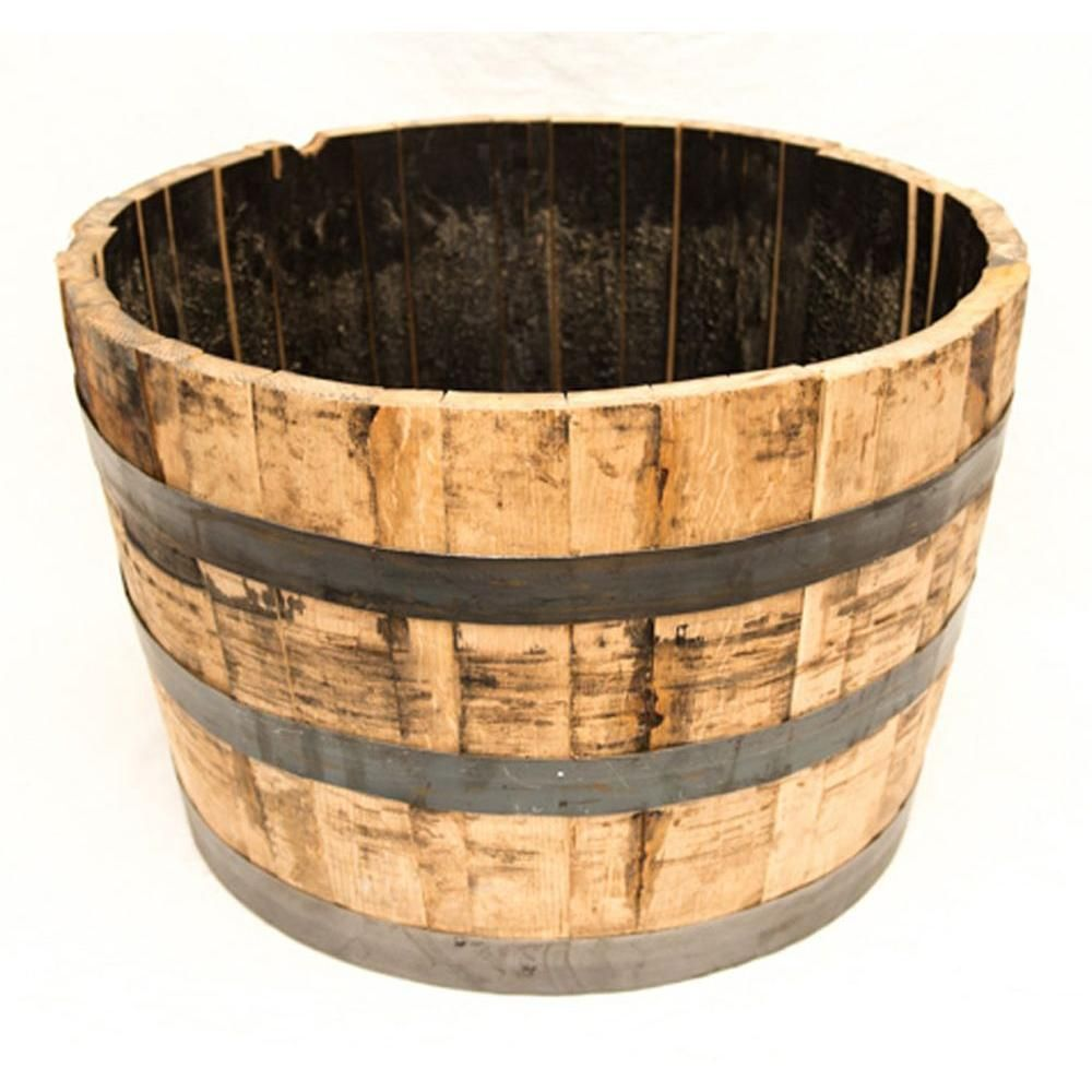 25 In Dia Oak Wood Whiskey Barrel Planter B100 With Images Whiskey Barrel Planter Barrel Planter Wine Barrel Planter