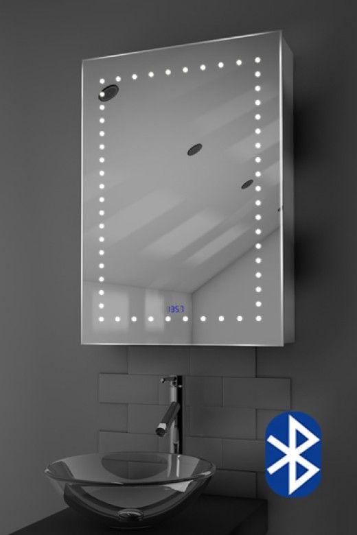 Lana Digital Clock Led Bathroom Cabinet With Bluetooth Audio Bath Mirror Illuminated Mirrors Mirror Cabinets
