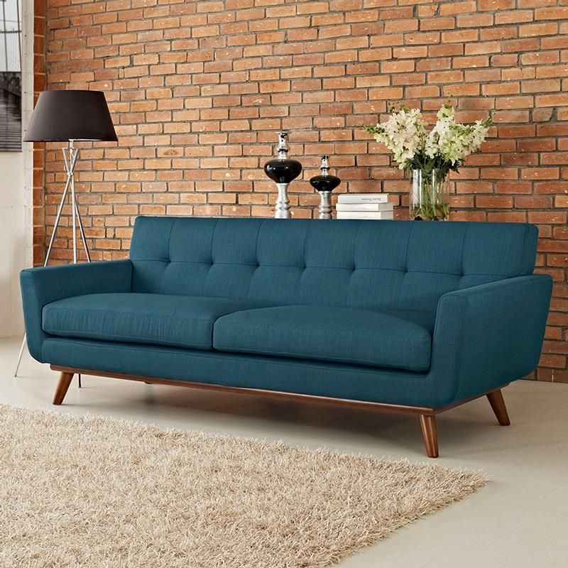 Empire Azure Sofa Mid Century Tufted Blue Exposed Brick On Modern Meets Traditional Eurway