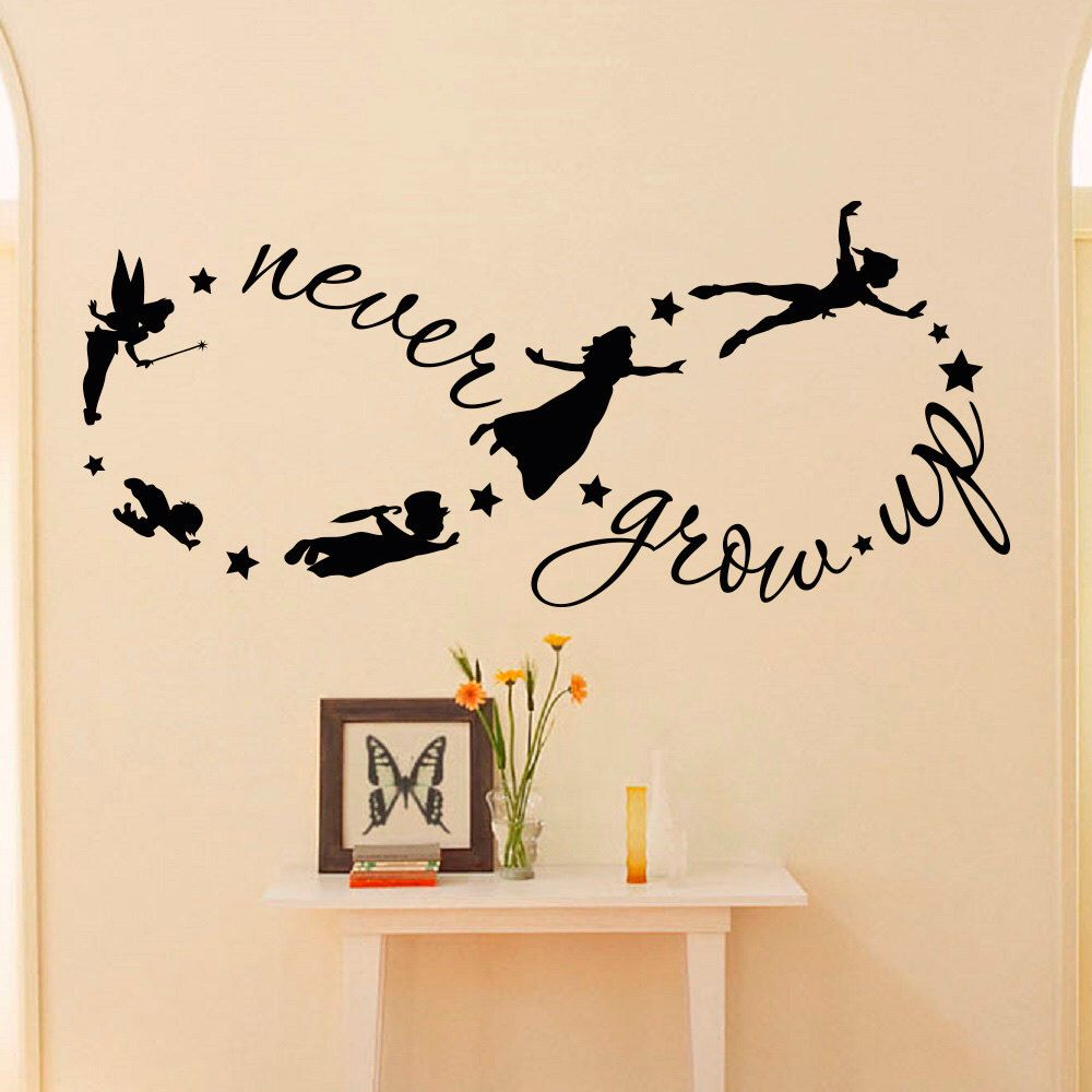 Peter pan wall decal never grow up quote fairy silhouette infinity peter pan wall decal never grow up quote fairy silhouette infinity symbol wall decals nursery kids room baby wall art fairytale decor q037 amipublicfo Gallery