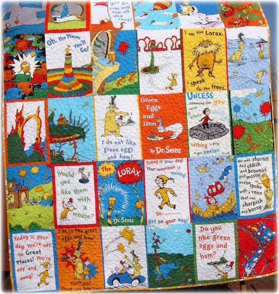 Dr Seuss Baby Quilt Green Eggs and Ham, The Lorax and Oh the ... : dr suess quilt - Adamdwight.com