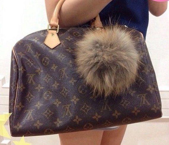 15458a323b2 Natural Brown Fluffy Raccoon Fur Big Pom Pom Ball Keyring keychain Bag Purse  Charm leather strap wit