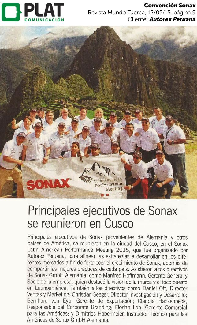 Autorex Peruana: Convención Sonax en Cusco en la revista Mundo Tuerca (12/05/15)