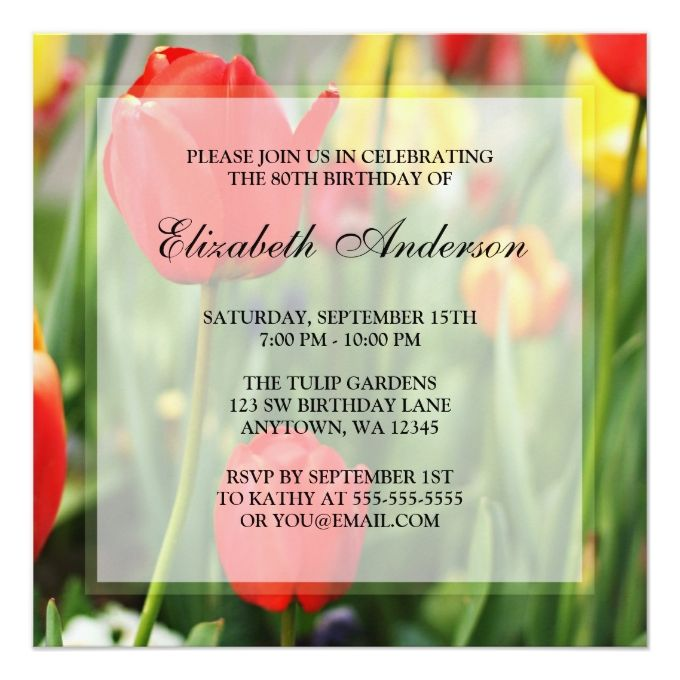 Colorful Spring Tulips 80th Birthday Party 5.25x5.25 Square Paper Invitation Card