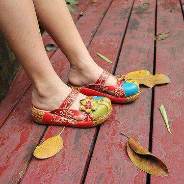 Socofy Chaussures Plates En Cuir HugJv