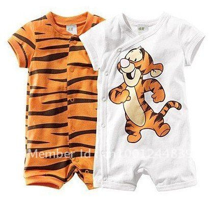a838a2f86 SET 2 NEW Baby Boy Tigger & Tiger Print Short Romper Bodysuit SET 6-24m  0/1/2