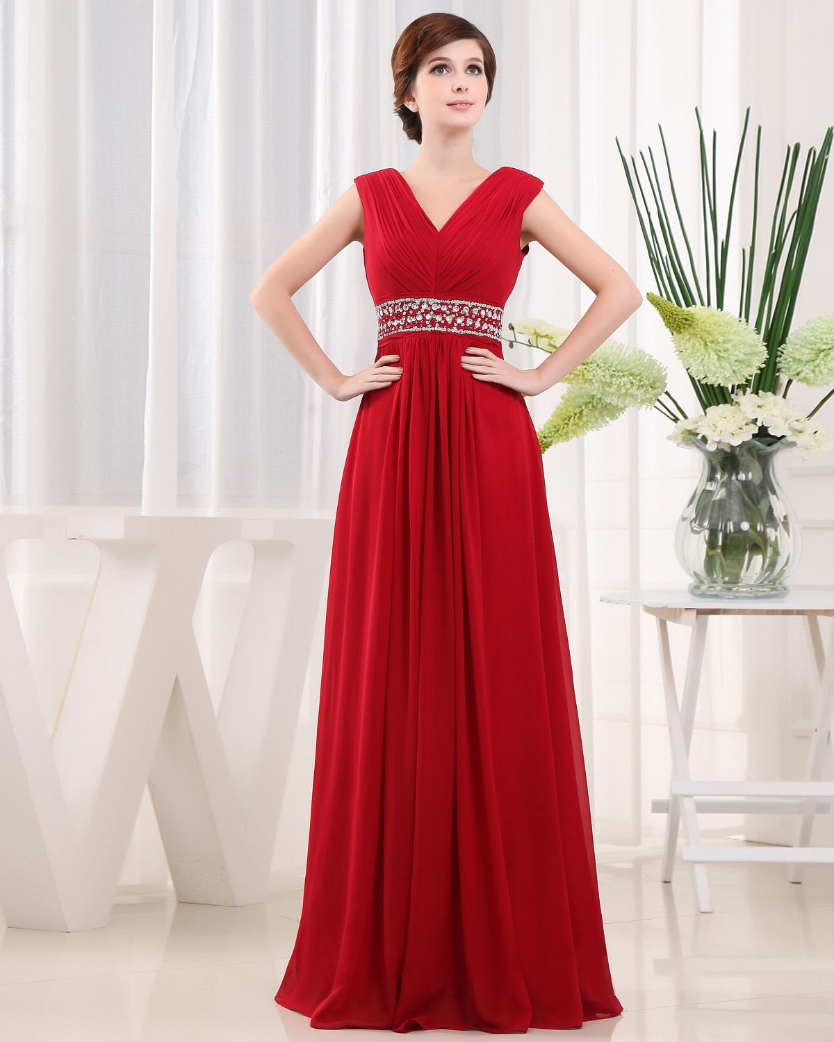 Red evening dress with beads on sash evening dress pinterest