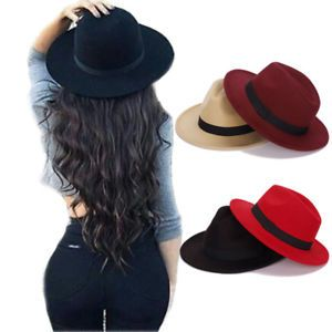 d1695bebfb7d6 Fashion Wide Brim Vintage Wool Felt Hats Women Fedora Men Hat Jazz Hats  Sombrero