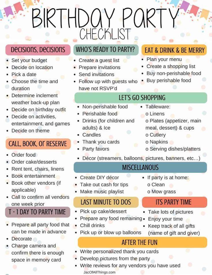 Checkliste für Geburtstagsfeiern