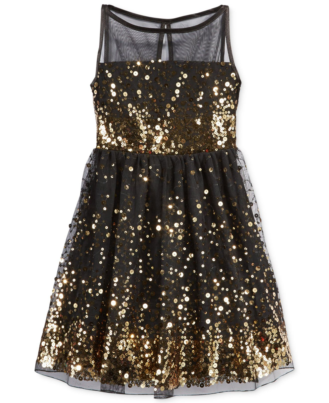 Flowermodels Candy Dolls Illusion: Ruby Rox Girls' Sequin Illusion Dress