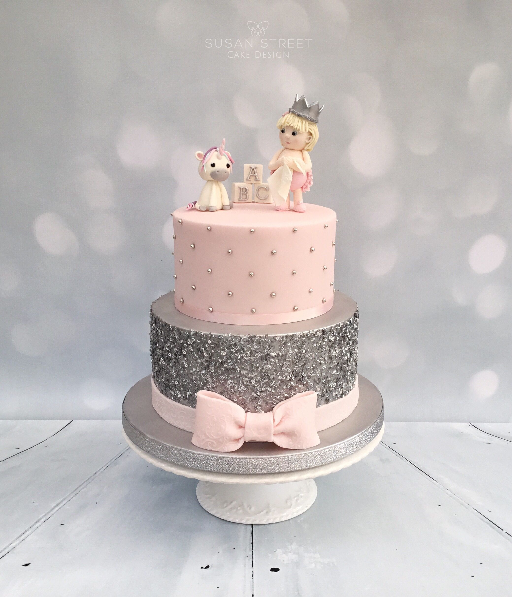 Pink & Silver Baby Shower Cake with edible sparkly sequins d a