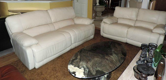 Macy S Nina Cream Leather Electric Reclining Sofa