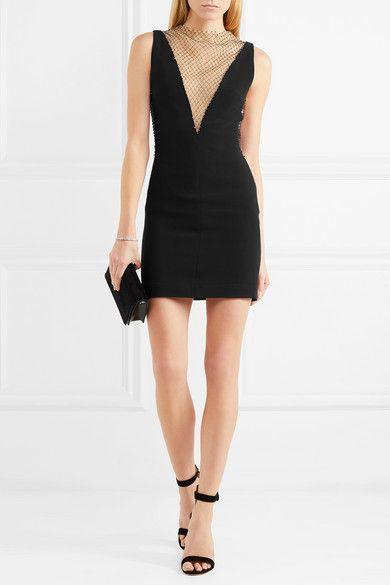 ed939d4b646a Stella McCartney - Crystal-embellished Mesh And Cady Mini Dress - Black