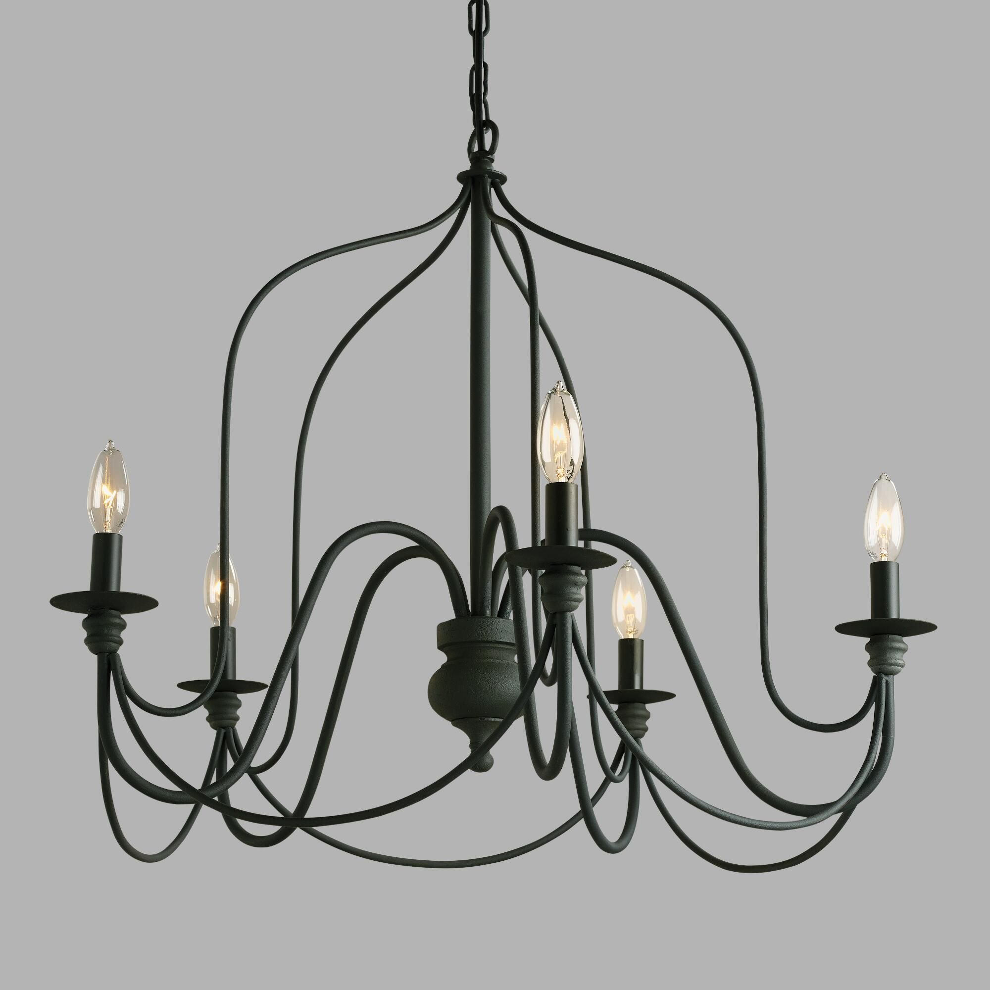 Our exclusive Rustic Wire Chandelier features a slender silhouette