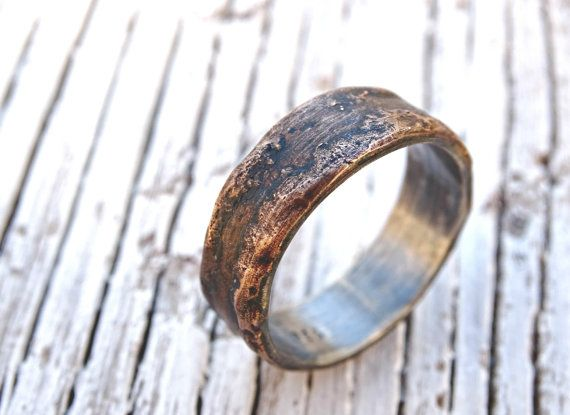 Bronze Ring Silver Band Personalized Mens Wedding Cool Unique Engagement Wood Grain