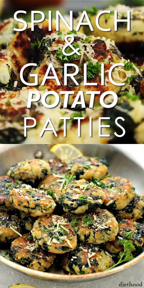 Spinach and Garlic Potato Patties Delicious and flavorful Patties made with a mixture of potatoes, spinach and garlic #healthy #spinach #recipes #healthydinnerrecipesvideos