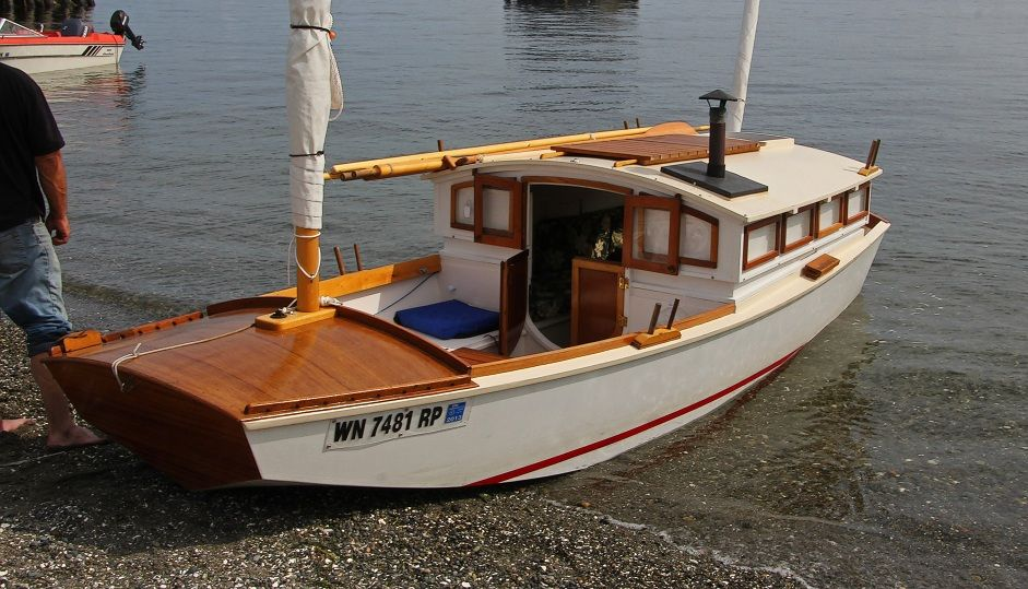 Garvey houseboat as shown at the port townsend wooden for Motor sailer boat plans