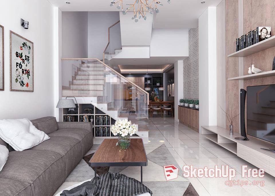 1458 Interior House Sketchup Model Free Download | Sketchup