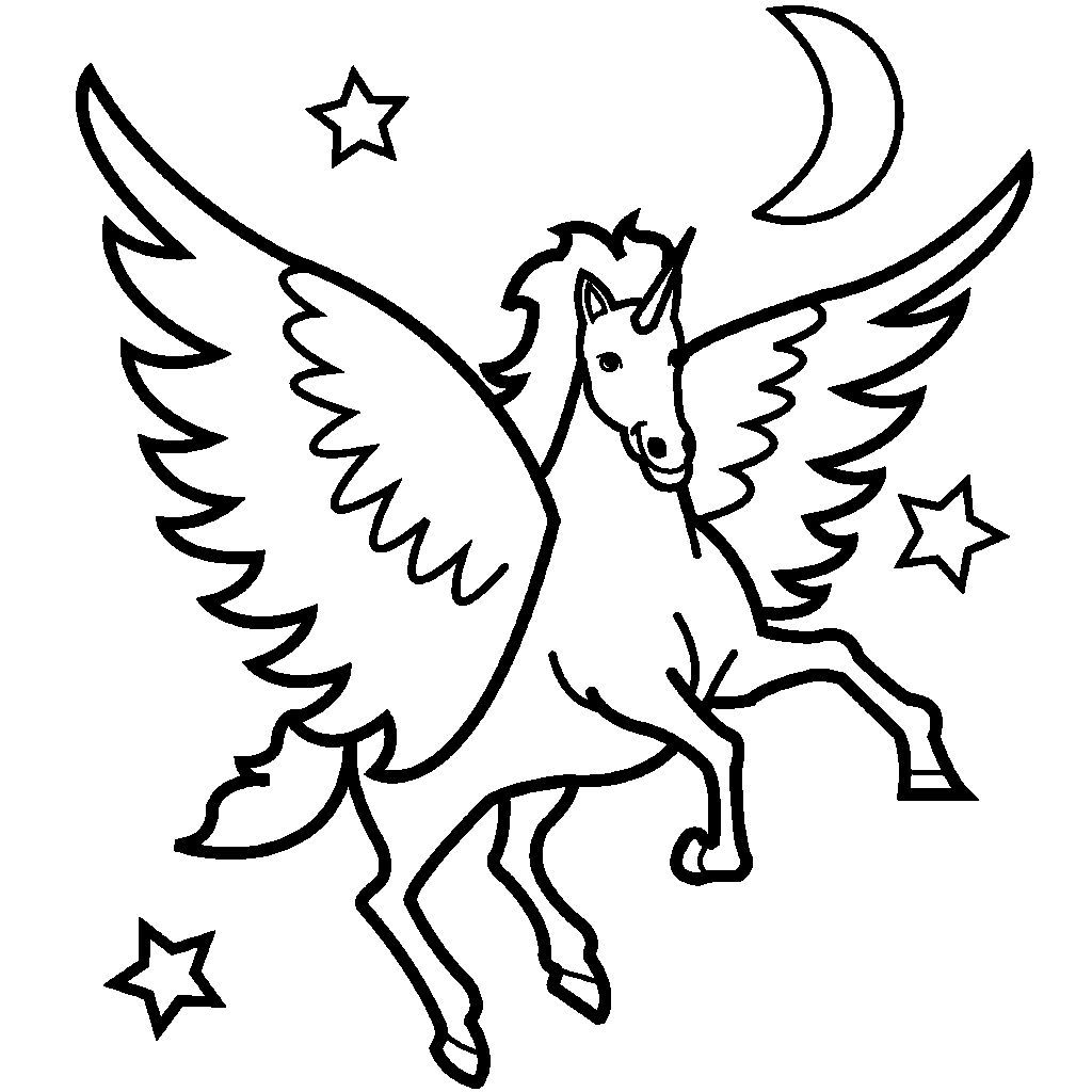 pegasus flew see the stars and moon coloring picture for kids