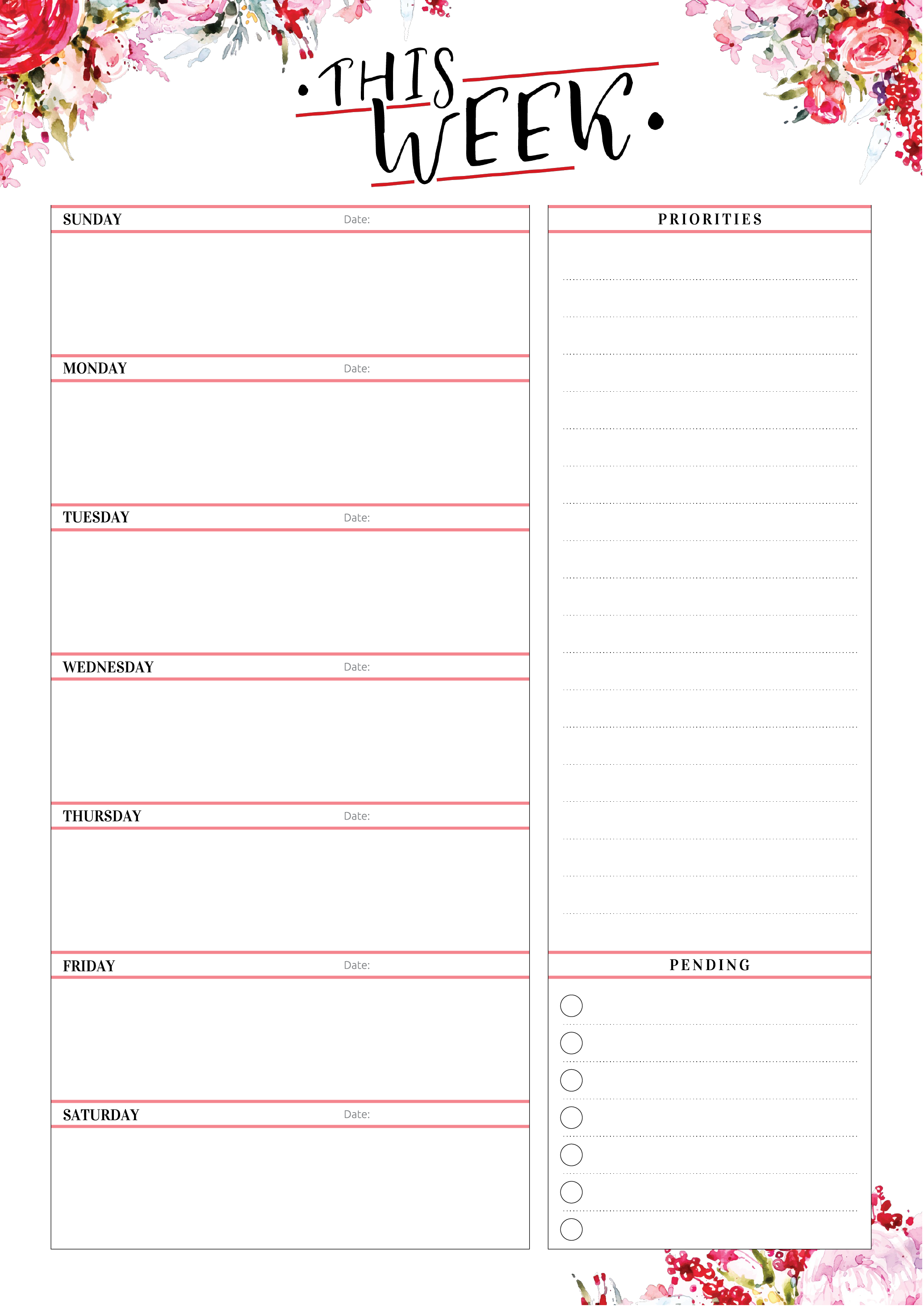 Free Printable Weekly Planner With Priorities Download