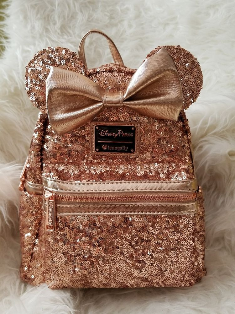 5ef2793dc58 Details about Loungefly Rose Gold Backpack Minnie Mouse Disney Parks ...