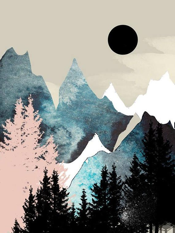 Mountain Wall Art Art Prints Watercolor Posters Blue Art