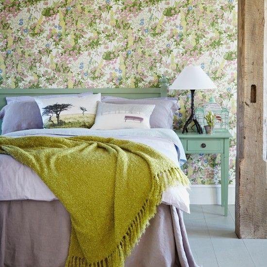 Grün und lila Blumen Schlafzimmer Wohnideen Living Ideas | Tapete ...