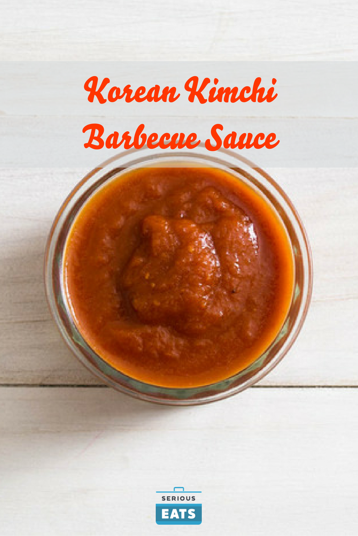 Not to be confused with any of the traditional sauces or marinades used in Korean barbecue, this is a sauce that combines funky Korean flavors like kimchi and gochujang (Korean chili paste) with a barbecue sauce-style ketchup base. It's delicious on grilled chicken, pork, and shellfish like shrimp.