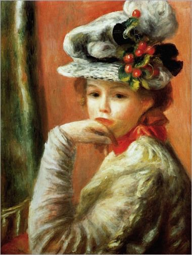 young girl in the white hat-1891 Pierre Auguste Renoir (French artist, 1841-1919)